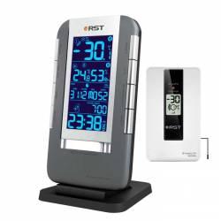 RST 02711 Термометр цифровой с радио-датчиком, часы, прорезиненный корпус, календарь