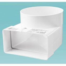 Соединительное колено 90°, 110*55 / Ø100 для плоских и круглых каналов