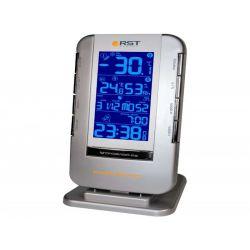 RST 02710 Термометр цифровой с радио-датчиком, часы, прорезиненный корпус, календарь